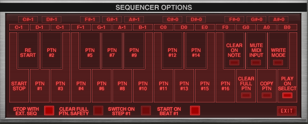 Sequencer Options indicate MIDI note functions