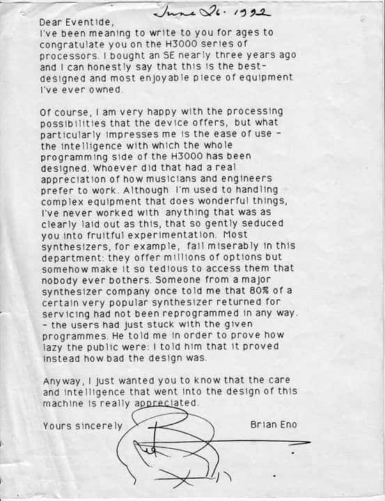 The Brian Eno letter about the Eventide H3000