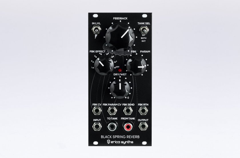 Erica Synths Black Spring Reverb, a new spring reverb module for Eurorack systems